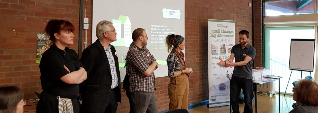 The five people starting up Incredible Edible Middlesbrough standing in front of an audience about to talk about their interests