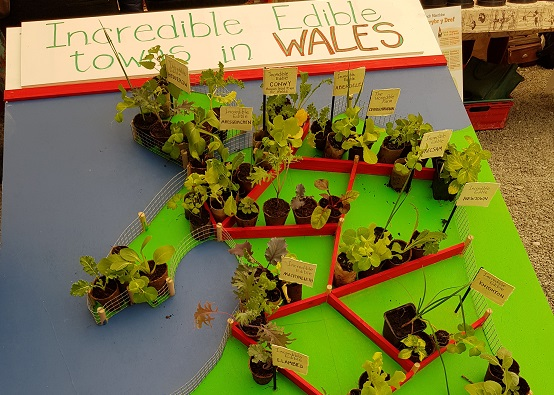Edible map of Wales with plants and flags for Incredible Edible groups